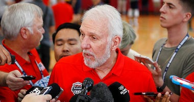 Gregg Popovich speaks with the media during a training camp for USA Basketball, in Las Vegas.