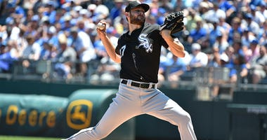 White Sox ace Lucas Giolito pitches in a game against the Royals