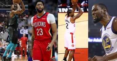 From left to right: Kemba Walker, Anthony Davis, Kawhi Leonard and Kevin Durant