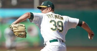 Oakland Athletics relief pitcher Blake Treinen