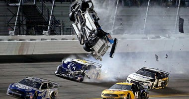 NASCAR Cup Series driver Ryan Newman (6) wrecks during the Daytona 500 at Daytona International Speedway.