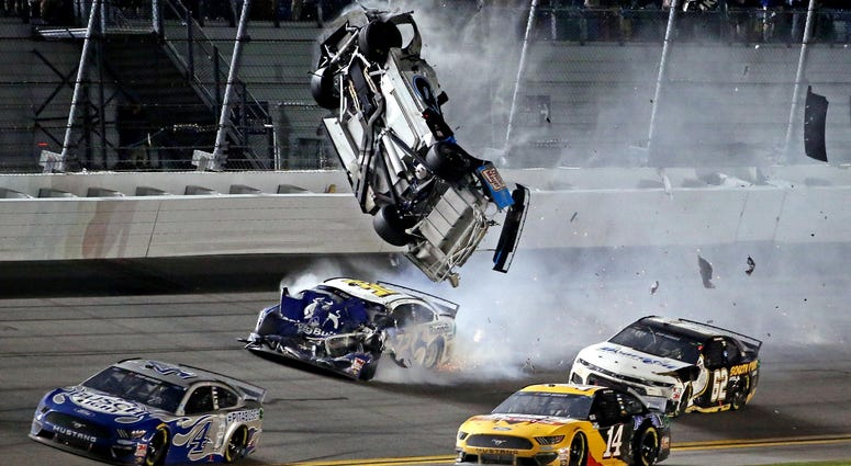NASCAR Cup Series driver Ryan Newman (6) wrecks during the Daytona 500 at Daytona International Speedway.