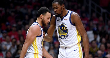 Stephen Curry and Kevin Durant on the Warriors.