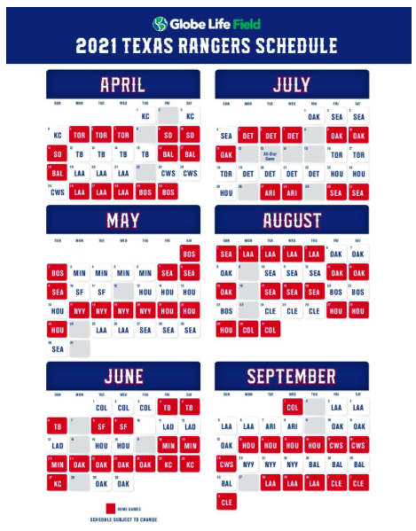 Texas Rangers Schedule