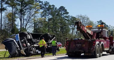 Overturned Bus On Interstate 20 near Augusta, Ga.