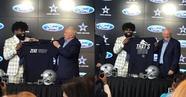 Ezekiel Elliott & Jerry Jones holding the 'Zeke Who' t-shirt