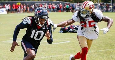 Houston Texans wide receiver DeAndre Hopkins (10) and San Francisco 49ers defensive back Richard Sherman