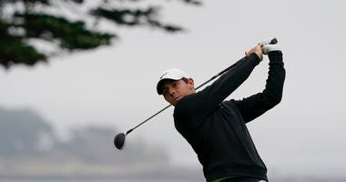 Rory McIlroy, of Northern Ireland, watches his tee shot on the 11th hole during a practice round for the U.S. Open Championship golf tournament Wednesday, June 12, 2019, in Pebble Beach, Calif.