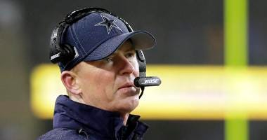 Dallas Cowboys head coach Jason Garrett watches from the sideline in the second half of an NFL football game against the New England Patriots, Sunday, Nov. 24, 2019, in Foxborough, Mass.