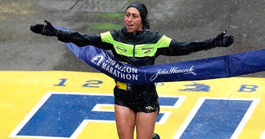 Desiree Linden, of Washington, Mich., wins the women's division of the 122nd Boston Marathon on Monday, April 16, 2018, in Boston. She is the first American woman to win the race since 1985.