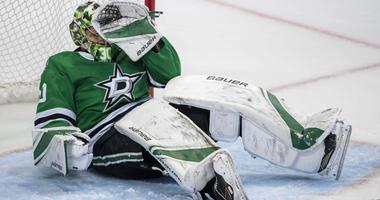 May 5, 2019; Dallas, TX, USA; Dallas Stars goaltender Ben Bishop (30) falls to the ice after getting his in the facemask by a St. Louis Blues stick during the third period in game six of the second round of the 2019 Stanley Cup Playoffs at American Airlin