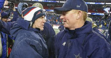 New England Patriots head coach Bill Belichick greets Dallas Cowboys head coach Jason Garrett