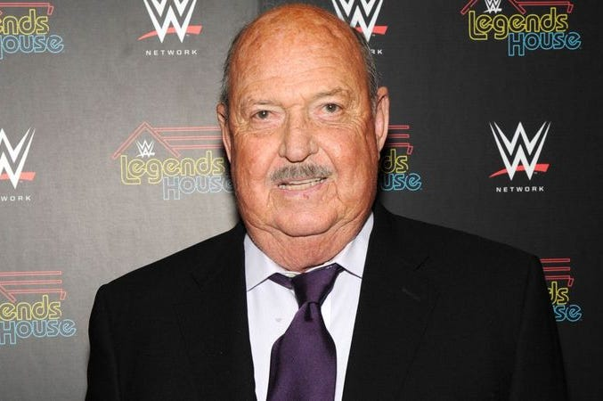 NEW YORK, NY - APRIL 15: Cast member Gene Okerlund attends the WWE screening of 'Legends' House' at Smith & Wollensky on April 15, 2014 in New York City.