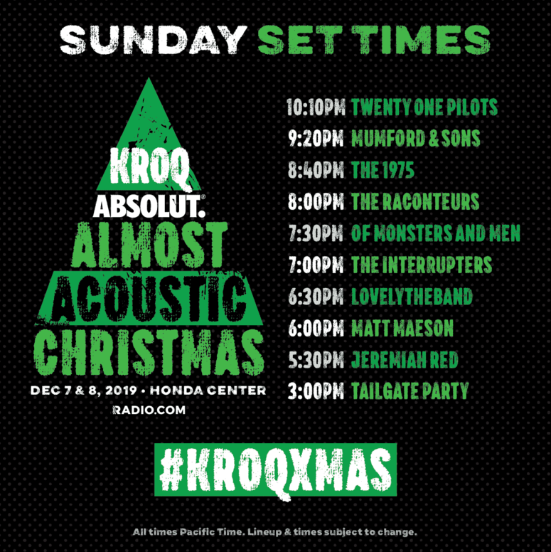 #KROQXMAS Night Two Set Times