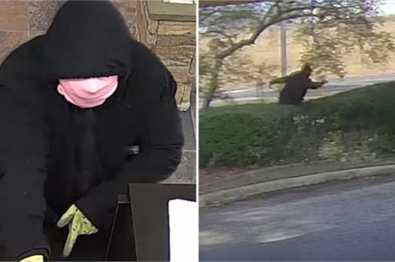 Bank robber falls three times.