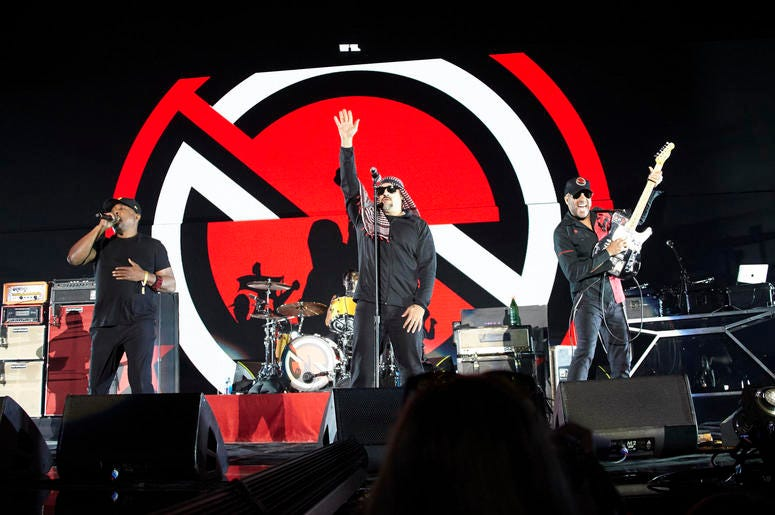 Chuck D, B-Real, and Tom Morello of Prophets of Rage perform onstage during KROQ Almost Acoustic Christmas 2017