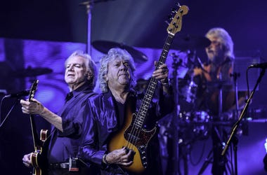 Recording artists Justin Hayward , Graeme Edge and John Lodge of The Moody Blues