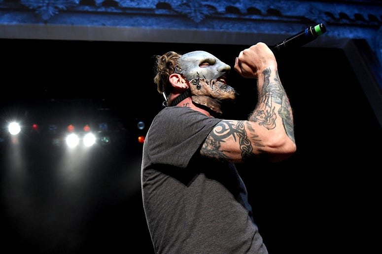 Singer Corey Taylor of Slipknot performs during the Ozzy Osbourne and Corey Taylor special announcement at the Hollywood Palladium on May 12, 2016 in Hollywood, California
