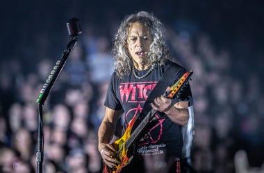 Metallica member Kirk Hammett performs