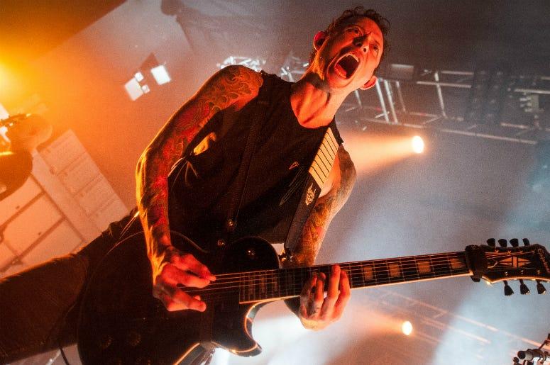 Matt Heafy of Trivium performs at O2 Academy on April 17, 2018 in Birmingham, England.