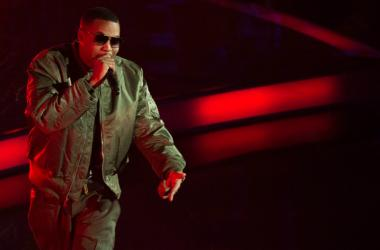 Nas (Nasir Jones) performs before the 2015 NBA All-Star Game at Madison Square Garden.