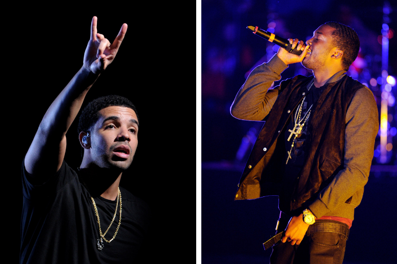 Singer Drake, Rapper Meek Mill performs at The Verizon Wireless Amphitheatre on May 8, 2012 in Irvine, California. /