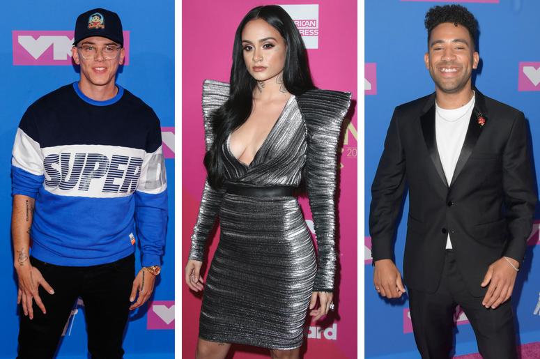 Logic. 2018 MTV Video Music Awards at Radio City Music Hall. / Kehlani at Billboard Women in Music 2017 at the Ray Dolby Ballroom on November 30, 2017 in Hollywood, California. / KYLE.