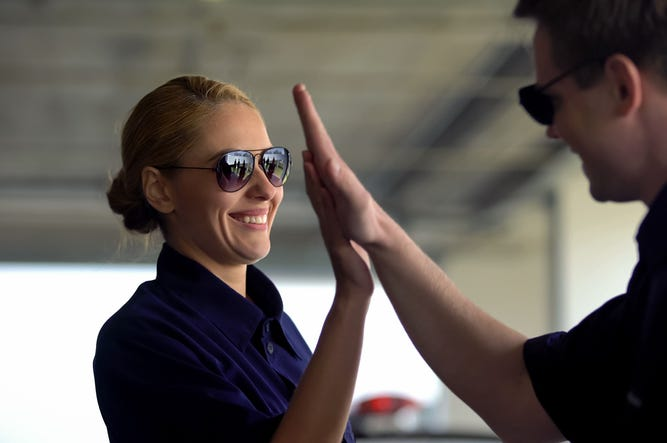 Happy Police High Five