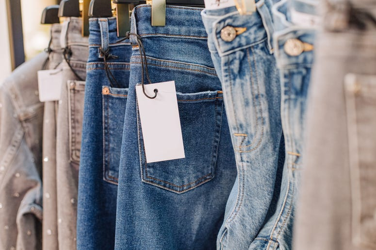 clothes with tags