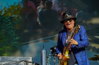 Carlos Santana of Santana performing live on the Great Oak stage