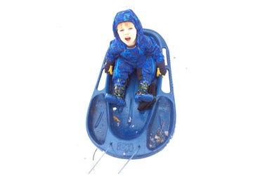 Dawson on a sled