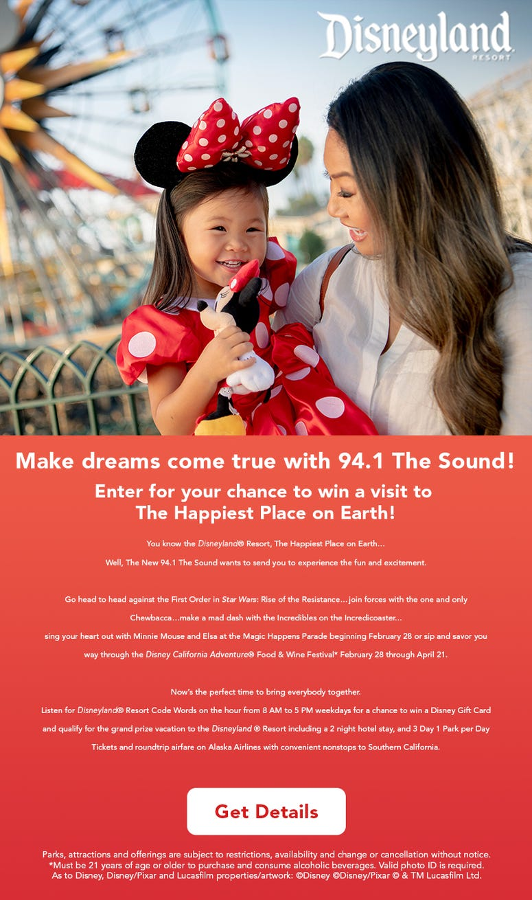Enter for your chance to win a visit to The Happiest Place on Earth!
