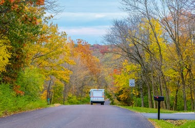 Fall colors along a road