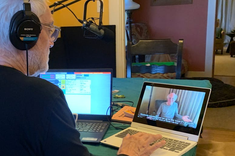 John staying at home broadcasting from the dining room