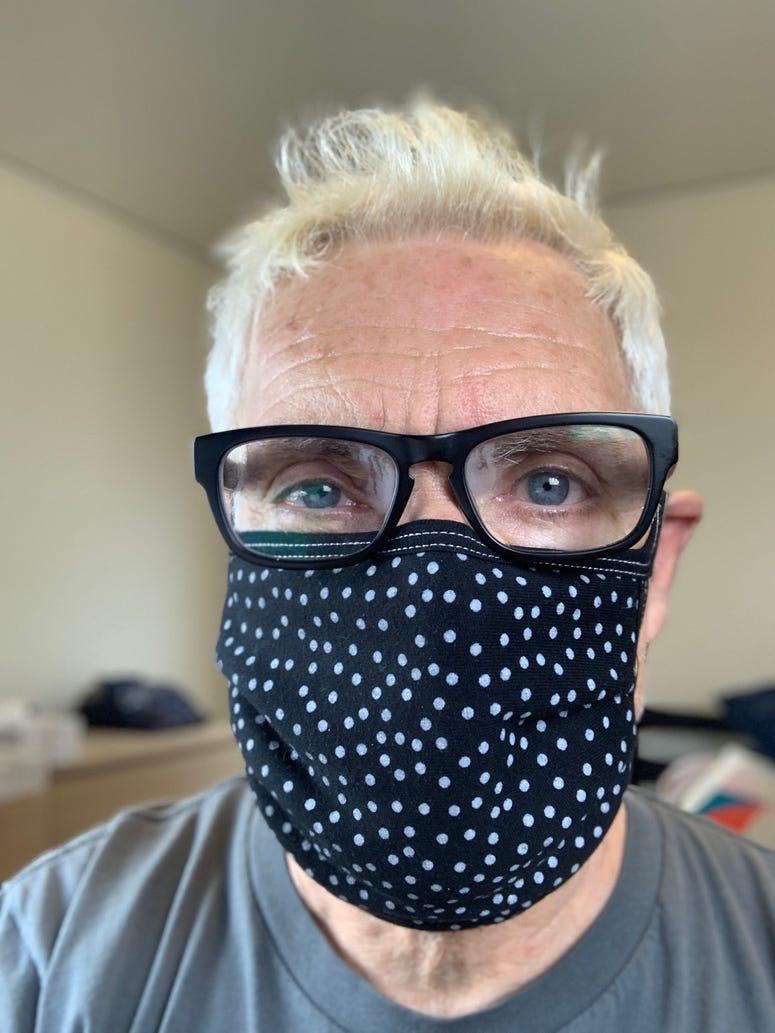 John in a polka-dot mask