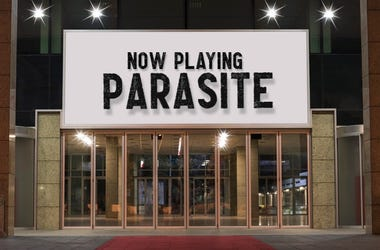 Movie theater showing Parasite