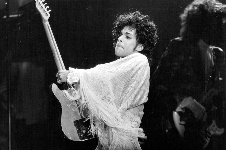 Prince performs on Dec. 25, 1984 at the St. Paul Civic Center