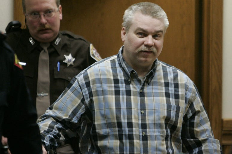 Steven Avery is escorted into the courtroom at the Calumet County Courthouse. Avery is accused, along with his 17-year-old nephew, of killing Teresa Halbach, 25, after she went to the family's salvage lot a minivan they had for sale.