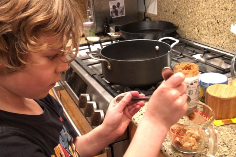 Dawson making cookies