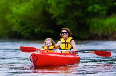 Mom and child in a kayak