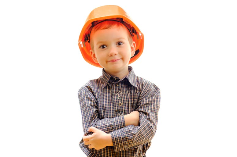 Child in a hard hat