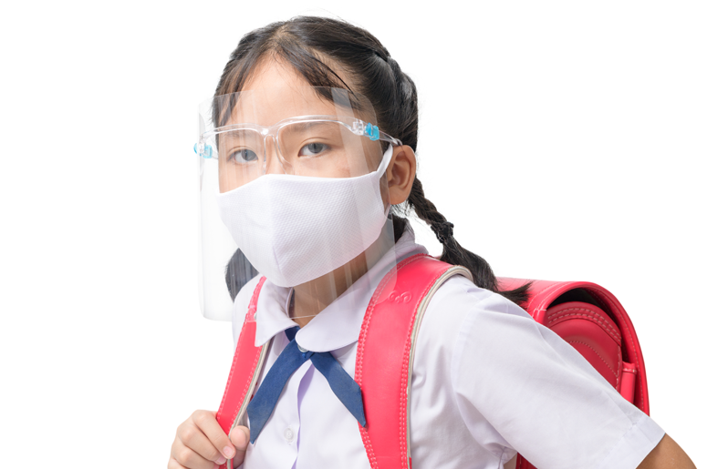 CHILD WEARING CLEAR FACE SHIELD
