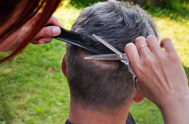Haircut man outside outdoors