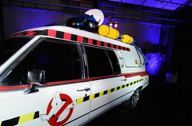 Ghostbusters were part of the 80s theme at the Tenth Annual Leather & Laces Super Bowl Party on February 2, 2013