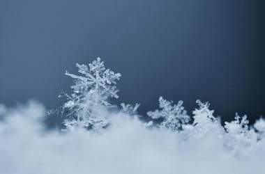 Snowflake. Macro photo of real snow crystal