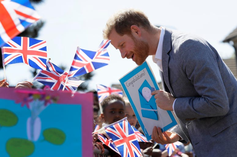 Prince Harry gets a card congratulating him on the birth of his son