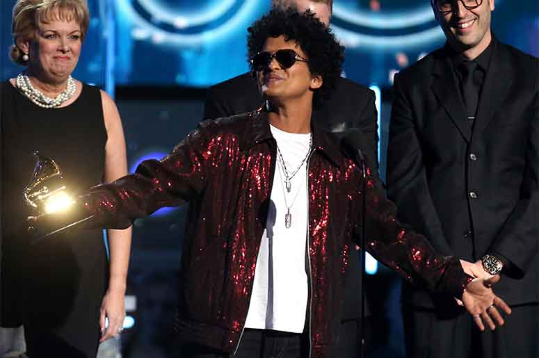 Bruno Mars accepts GRAMMY