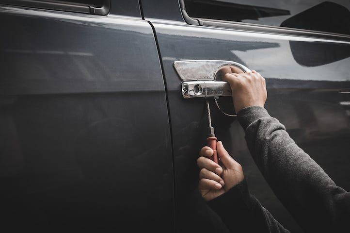 Man, Burglar, Stealing Car, Screwdriver