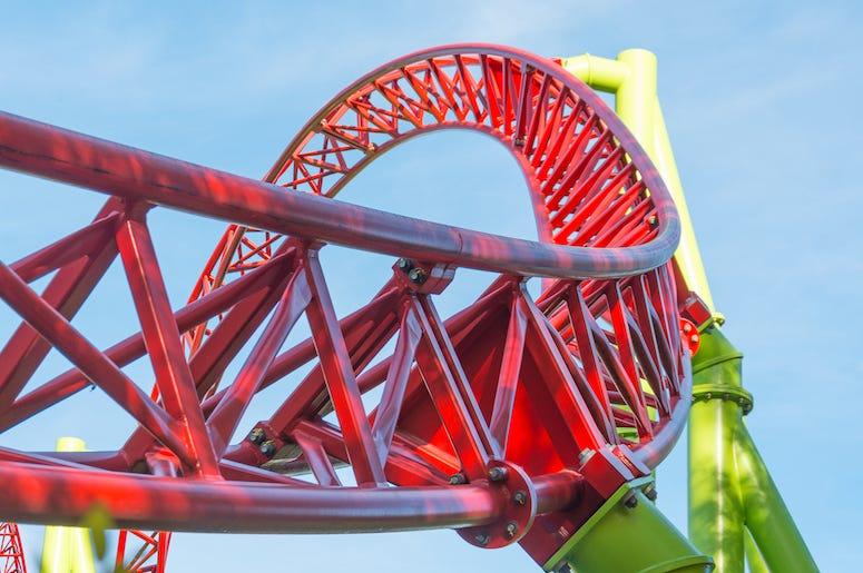 Roller Coaster, Loop, Amusement Park, Blue Sky