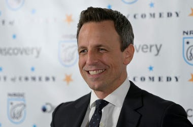 Seth Meyers on red carpet at Night of Comedy Benefit
